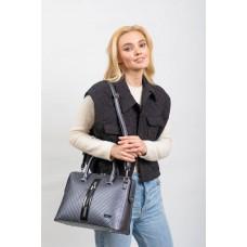 На фото 1 - Женская сумка из экокожи с подвеской, цвет тёмно-серебристый