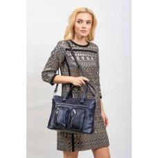 На фото 1 - Классическая женская сумка из искусственной кожи, тёмно-синяя
