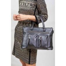 На фото 1 - Классическая женская сумка из искусственной кожи, серебристая