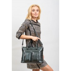 На фото 1 - Классическая женская сумка из искусственной кожи, тёмно-зелёная
