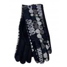 На фото 1 - Велюровые женские перчатки с оригинальным рисунком, цвет черный