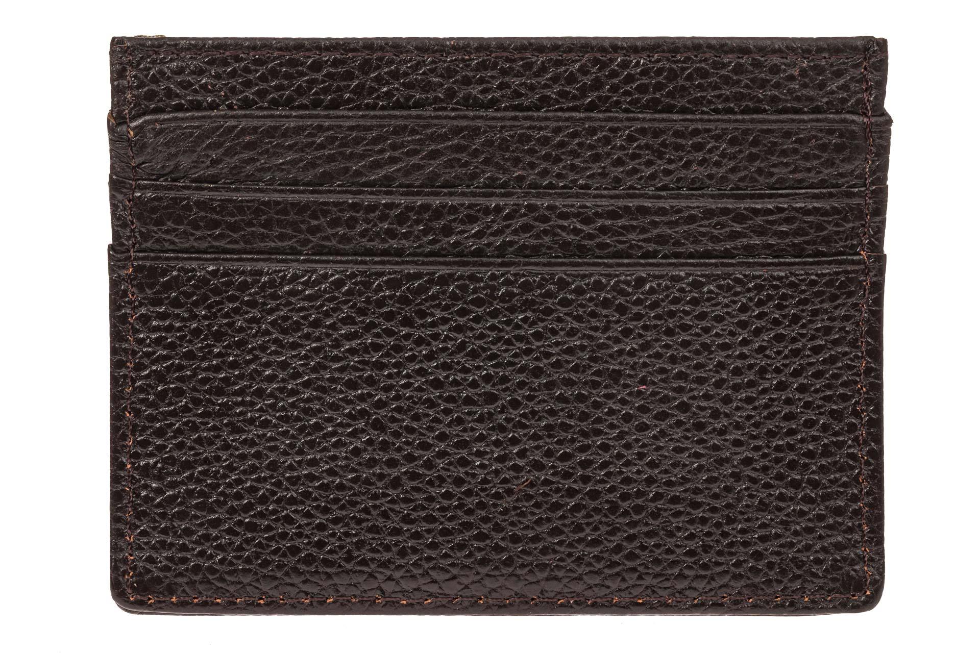 На фото 1 - Кожаный картхолдер на 6 карточек, цвет коричневый