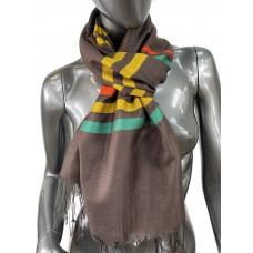 На фото 1 - Лёгкий шарф-палантин в полоску, цвет горький шоколад
