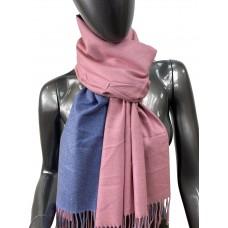 На фото 1 - Двухсторонний палантин из хлопка и шерсти, цвет розовый и синий