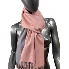 На фото 1 - Двухсторонний палантин из хлопка и шерсти, цвет розовый и серый