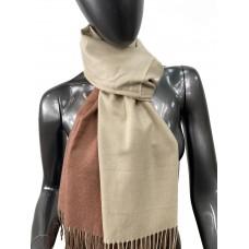 На фото 1 - Двухсторонний палантин из хлопка и шерсти, цвет бежевый и коричневый