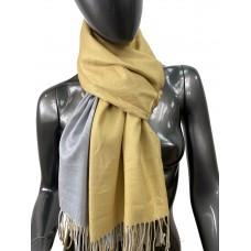 На фото 1 - Двухсторонний палантин из хлопка и шерсти, цвет желтый и серый