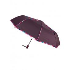 На фото 1 - Зонт женский полуавтомат с цветными вставками, цвет баклажан