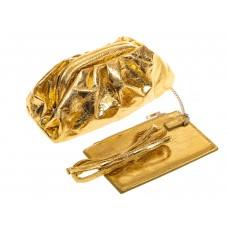 На фото 1 - Сумка женская с фермуаром из искусственной кожи, цвет золото