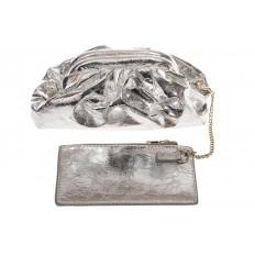 На фото 2 - Сумка женская с фермуаром из искусственной кожи, цвет серебро