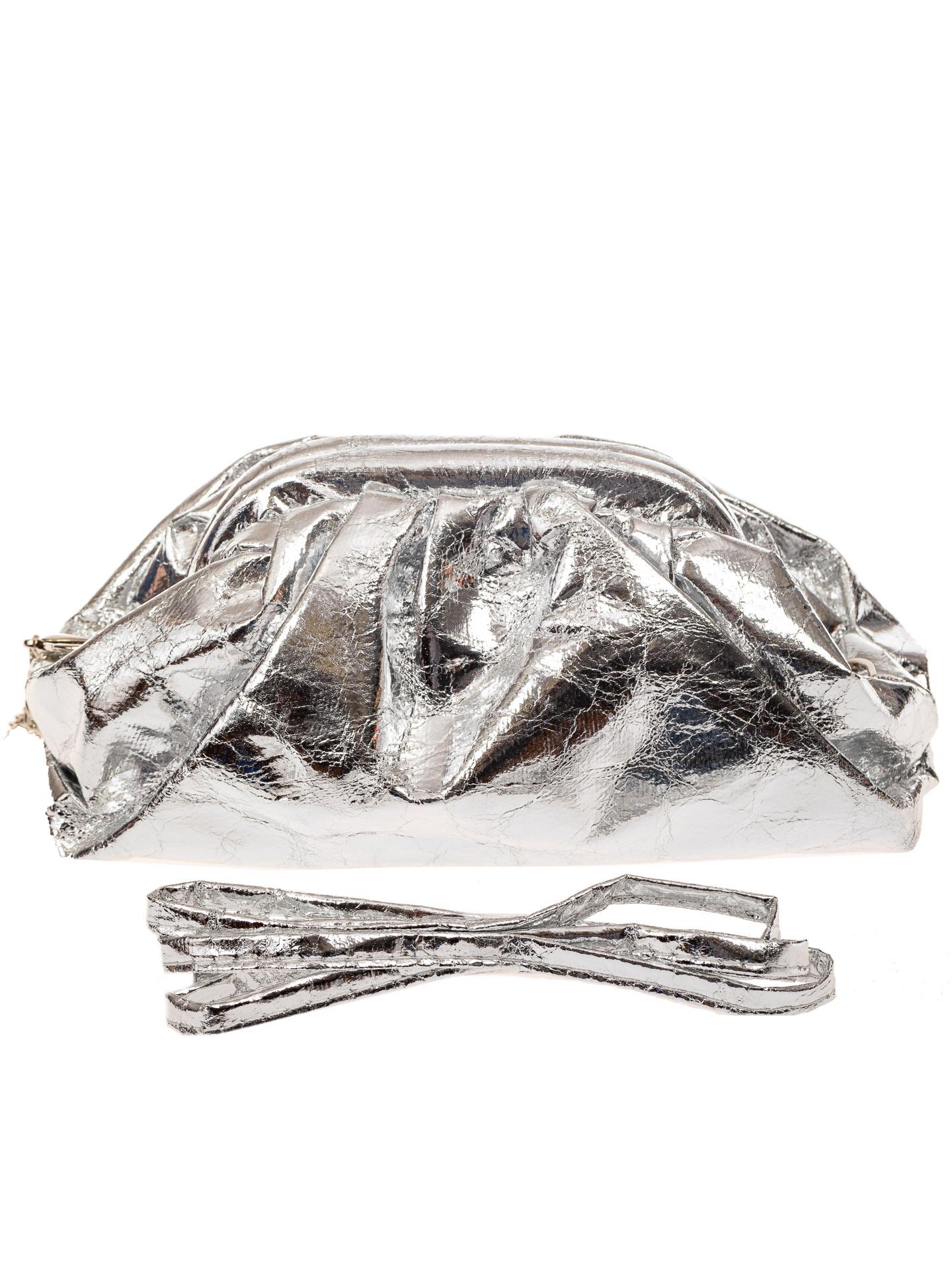 На фото 3 - Сумка женская с фермуаром из искусственной кожи, цвет серебро
