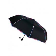 На фото 1 - Зонт женский полуавтомат с цветными вставками, цвет чёрный