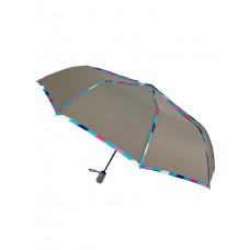 На фото 1 - Зонт женский полуавтомат с цветными вставками, цвет серый