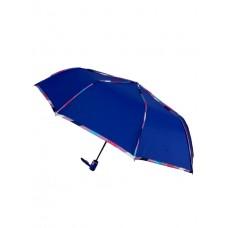 На фото 1 - Зонт женский полуавтомат с цветными вставками, цвет синий