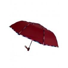 На фото 1 - Зонт женский полуавтомат с цветными вставками, цвет бордовый