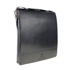 На фото 1 - Мужская сумка-мессенджер из фактурной экокожи, цвет чёрный