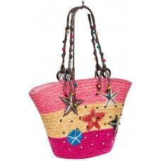 На фото 1 - Женская сумка-ведерко из соломы, цвет бежево-розовый