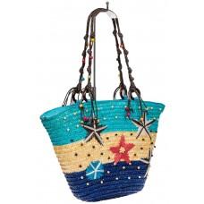 На фото 1 - Женская сумка-ведерко из соломы, цвет бежево-синий