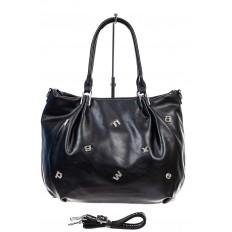 На фото 2 - Женская сумка хобо из гладкой экокожи, цвет черный