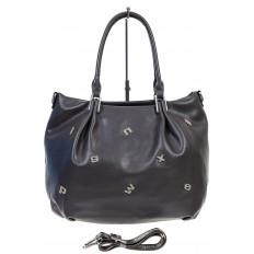 На фото 2 - Женская сумка хобо из гладкой экокожи, цвет серый