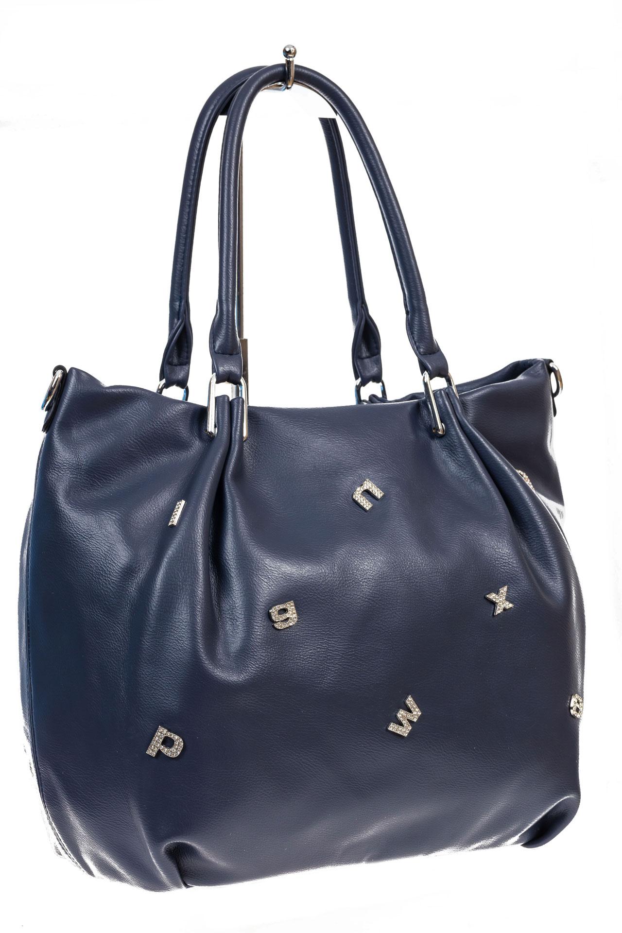На фото 3 - Женская сумка хобо из гладкой экокожи, цвет синий