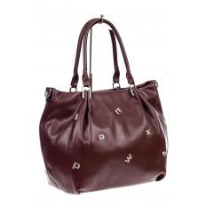 На фото 3 - Женская сумка хобо из гладкой экокожи, цвет бордо