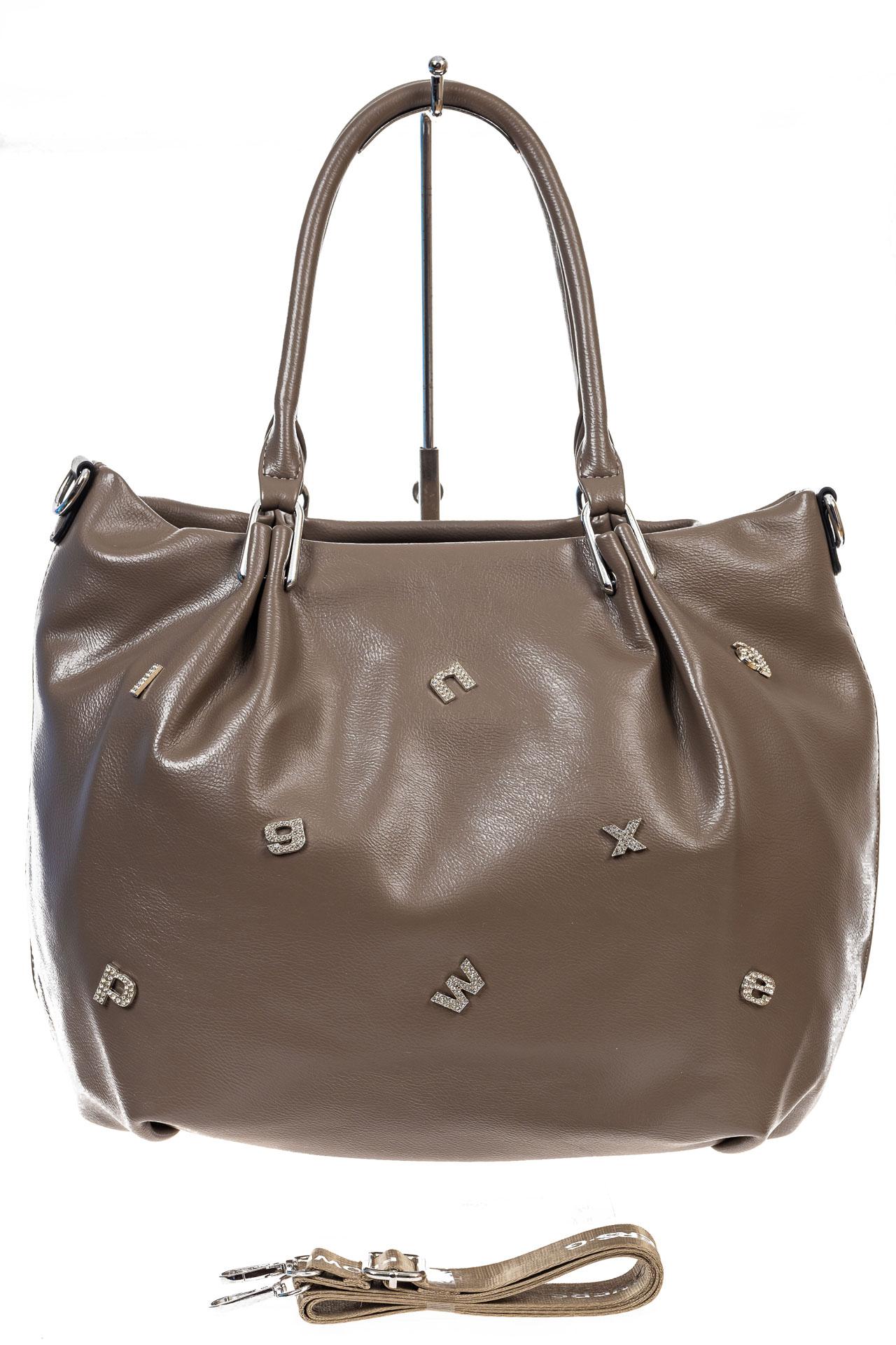 На фото 2 - Женская сумка хобо из гладкой экокожи, цвет коричневый