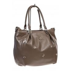 На фото 3 - Женская сумка хобо из гладкой экокожи, цвет коричневый