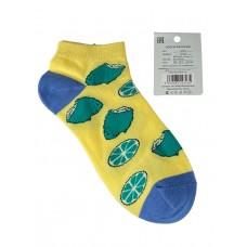 На фото 1 - Женские носки с принтом, хлопок-эластан-полиамид, цвет жёлтый с синим