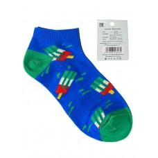 На фото 1 - Женские носки с принтом, хлопок-эластан-полиамид, цвет синий с зелёным