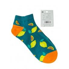 На фото 1 - Женские носки с принтом, хлопок-эластан-полиамид, цвет зелёный с оранжевым