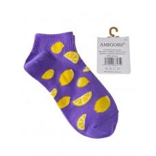 На фото 1 - Хлопковые молодёжные носки с принтом, цвет сиреневый
