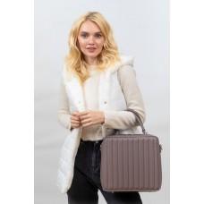 На фото 1 - Каркасная женская сумка из гладкой искусственной кожи, пудра