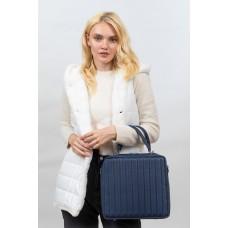 На фото 1 - Каркасная женская сумка из гладкой искусственной кожи, тёмно-синяя