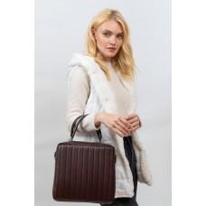 На фото 1 - Каркасная женская сумка из гладкой искусственной кожи, шоколад