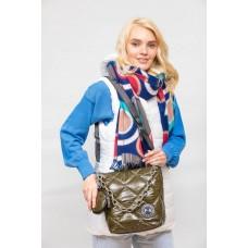 На фото 1 - Молодёжная стёганая сумка, цвет зеленый