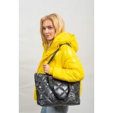 На фото 1 - Стёганая сумка-трапеция, цвет графитовый
