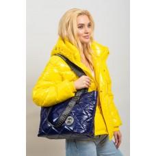 На фото 1 - Стёганая сумка-трапеция, цвет синий