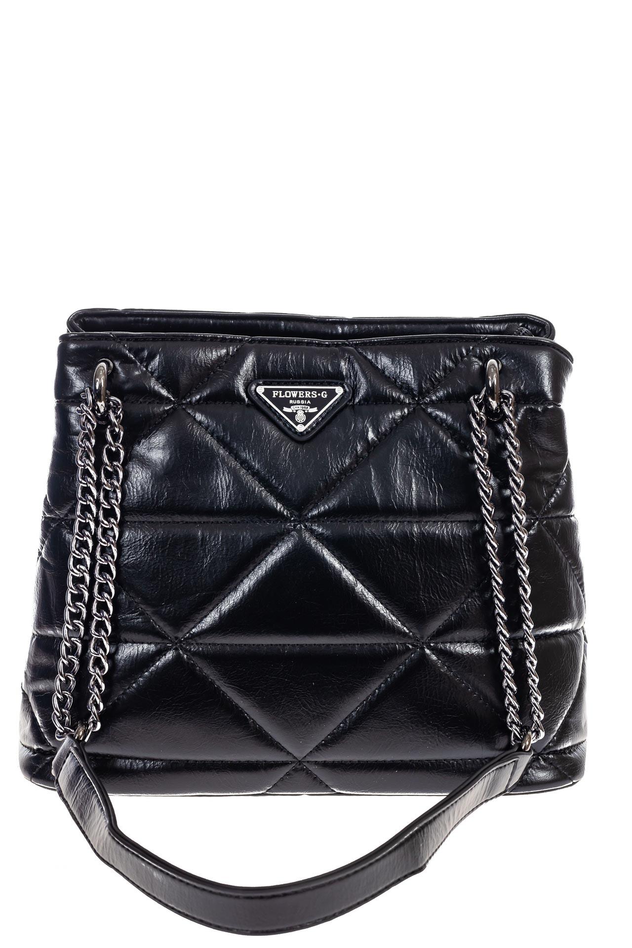 На фото 2 - Молодежная сумка из искусственной кожи,  цвет черный