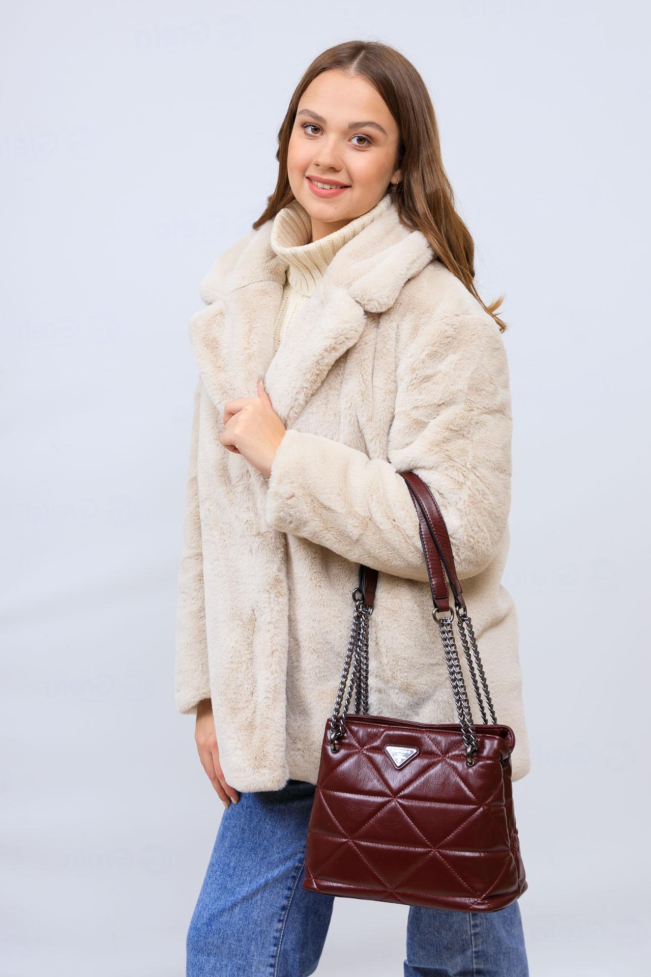 На фото 1 - Молодежная сумка из искусственной кожи,  цвет бордо