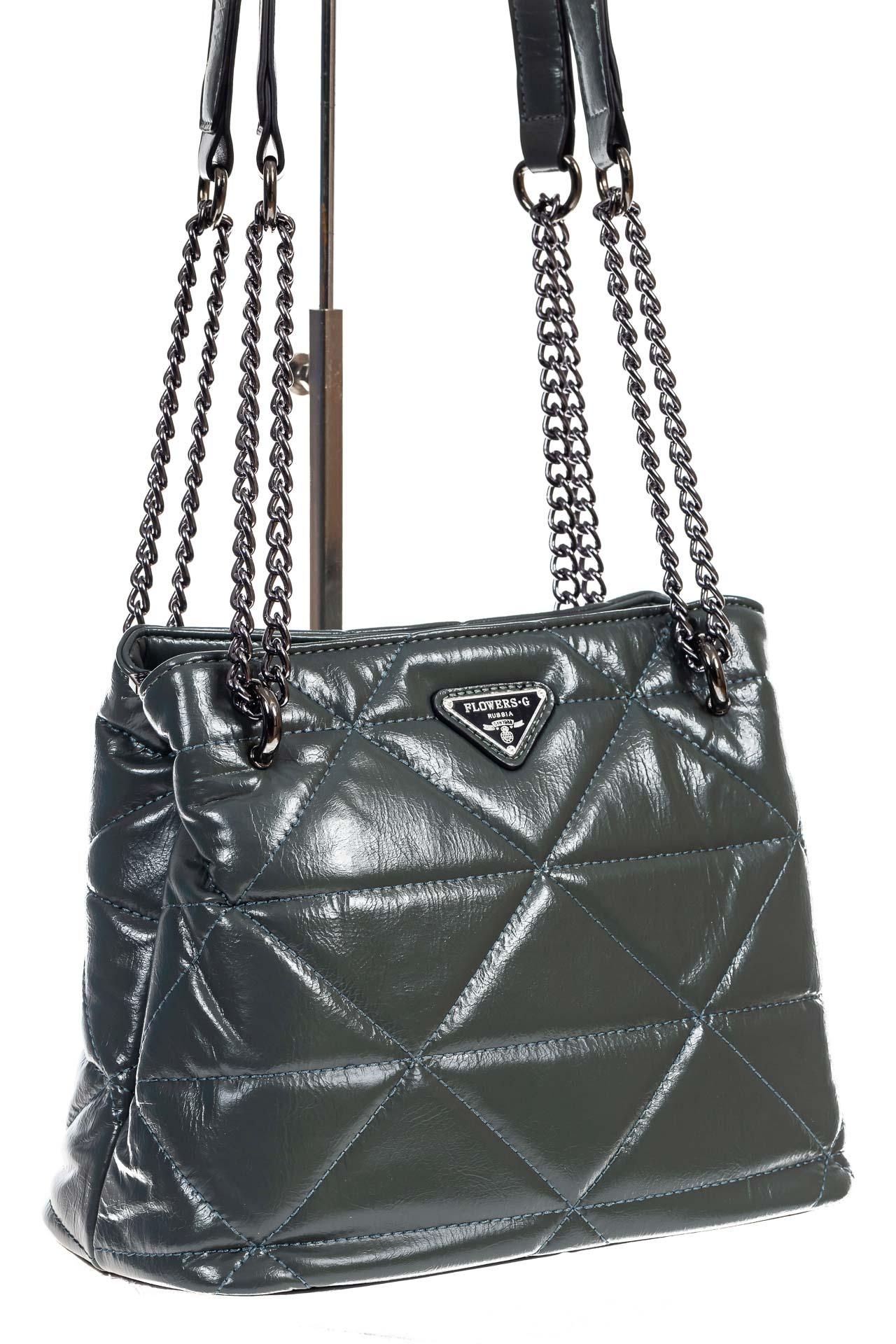 На фото 3 - Молодежная сумка из искусственной кожи,  цвет зеленый