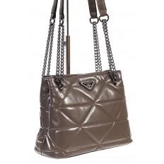 На фото 3 - Молодежная сумка из искусственной кожи,  цвет какао
