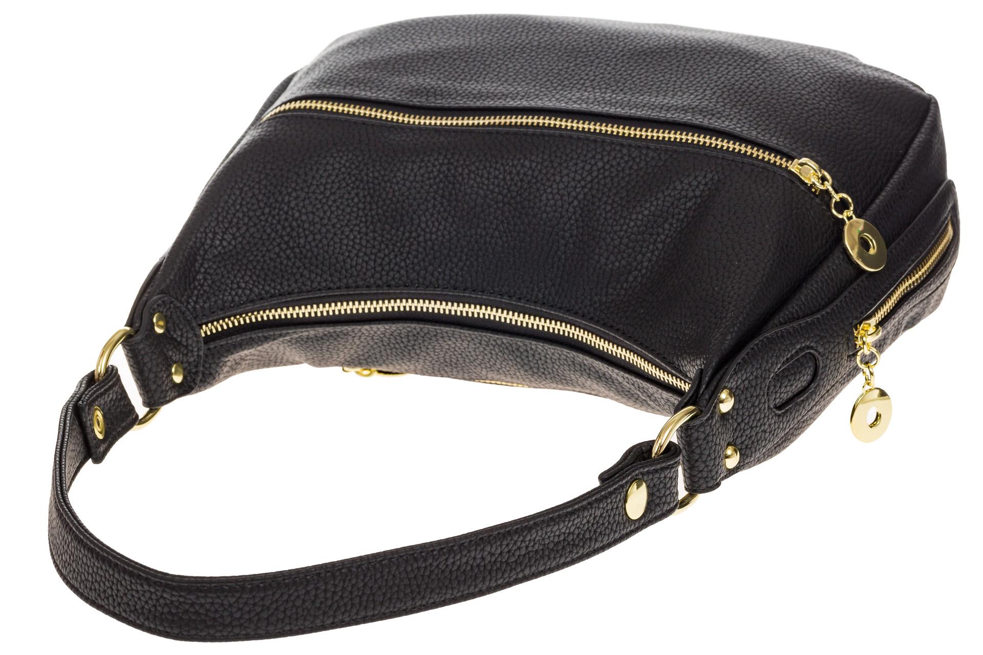 На фото 4 - Женская сумка хобо из искусственной кожи, цвет черный