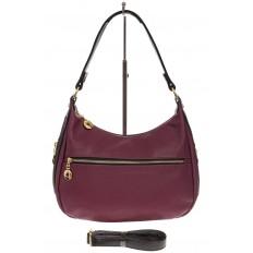 На фото 2 - Женская сумка хобо из искусственной кожи, цвет фиолетовый