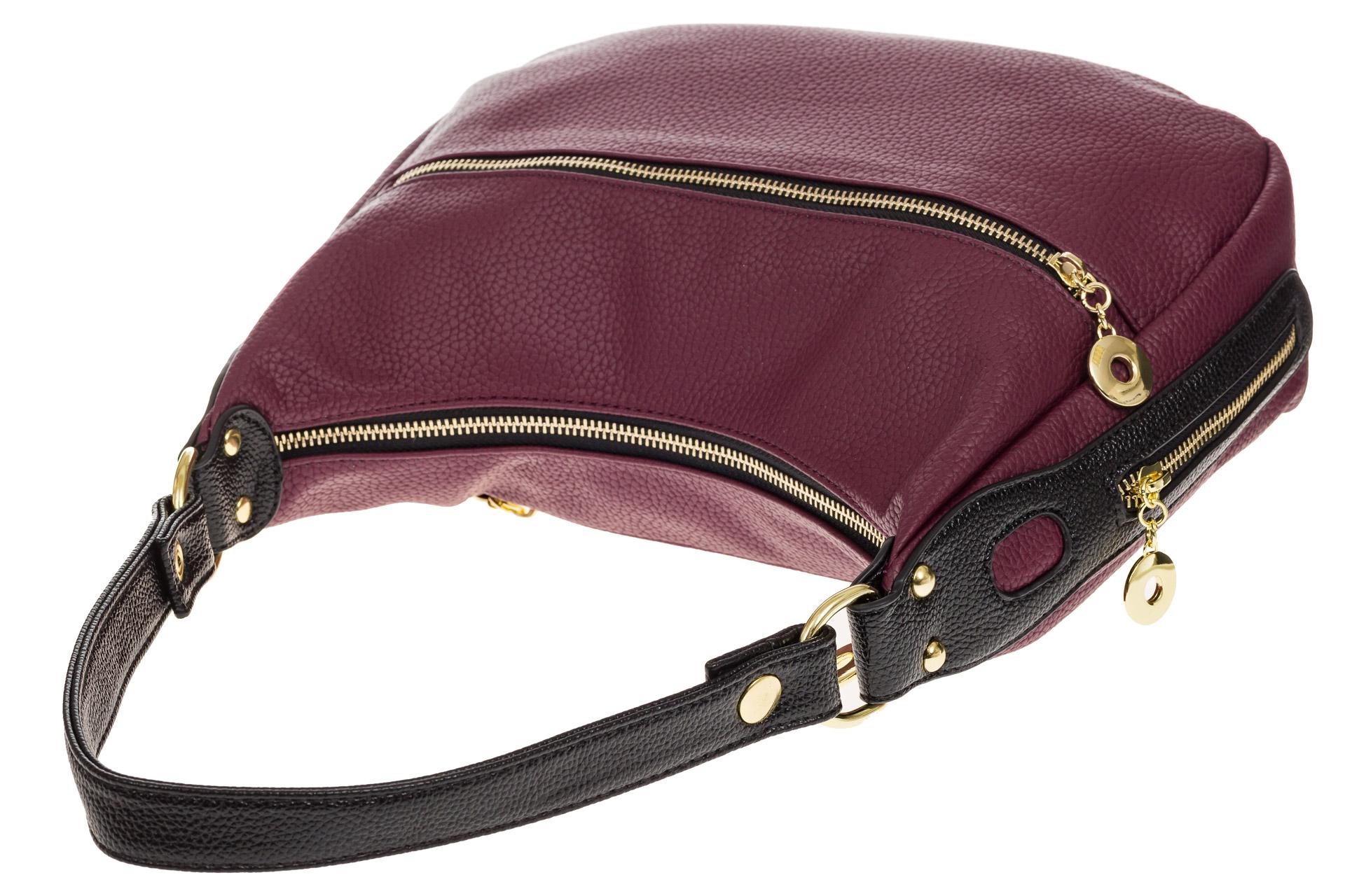На фото 4 - Женская сумка хобо из искусственной кожи, цвет фиолетовый