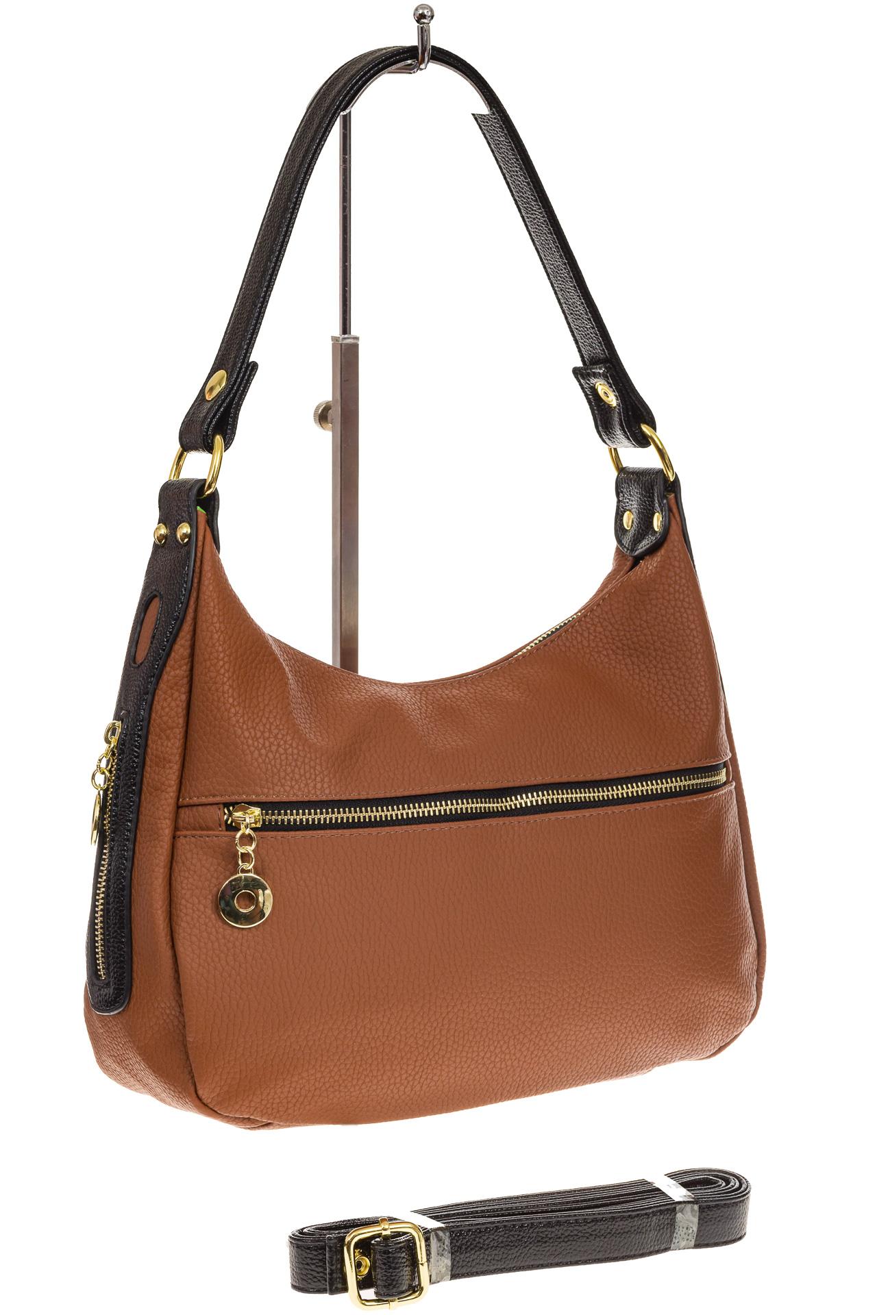На фото 1 - Женская сумка хобо из искусственной кожи, цвет рыжий