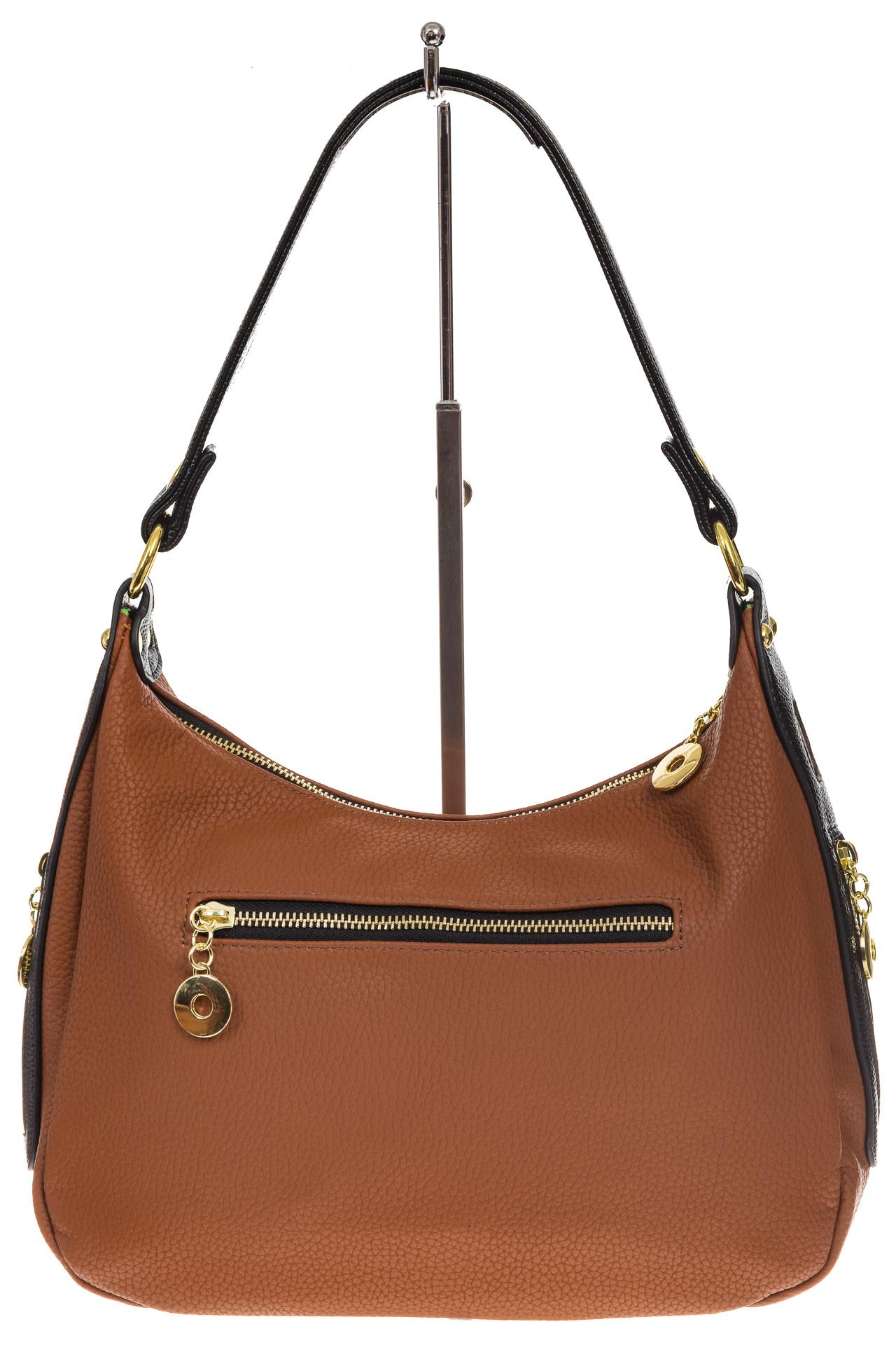 На фото 3 - Женская сумка хобо из искусственной кожи, цвет рыжий