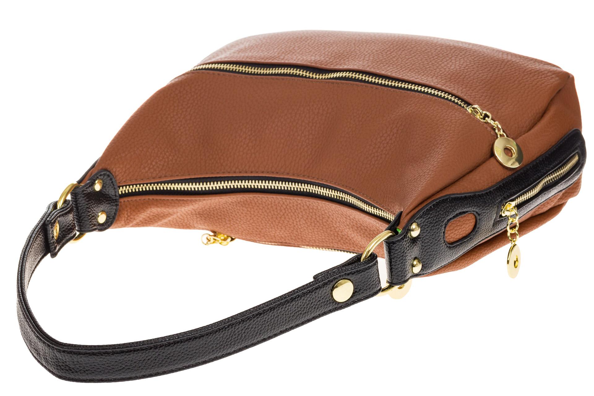 На фото 4 - Женская сумка хобо из искусственной кожи, цвет рыжий