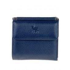 На фото 1 - Женский кошелёк из мягкой натуральной кожи оленя, цвет тёмно-синий