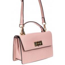 На фото 1 - Сумка кросс-боди из эко-кожи с прострочкой, цвет розовый